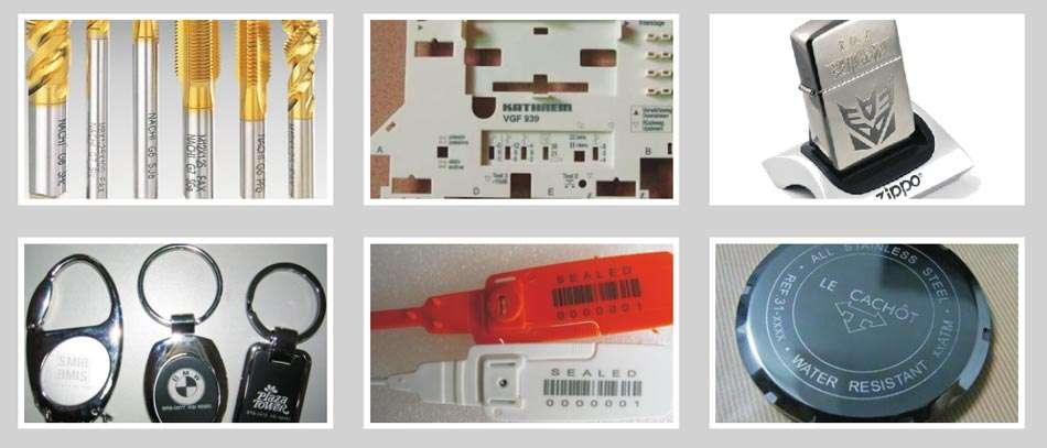 marking samples of portable fiber laser marking machine